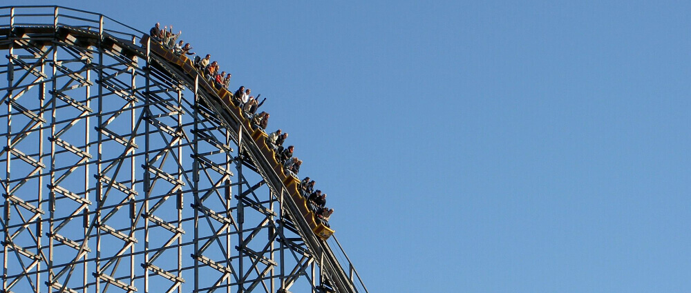 People on a rollercoaster at Fiesta Texas